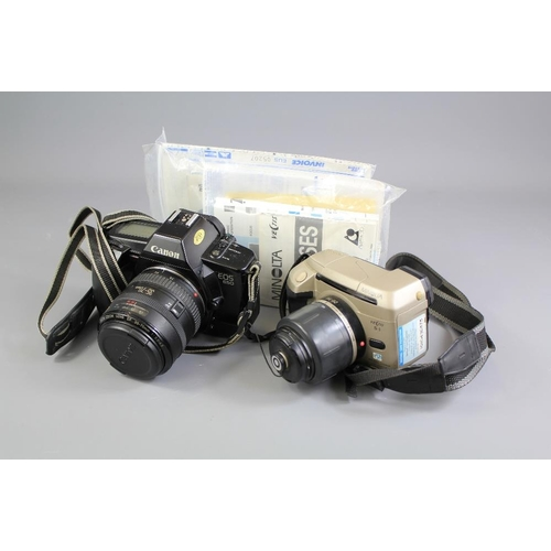 38 - A Canon EOS 650 Automatic Camera. The single lens reflex camera benefits from a Canon zoom lens EF 3...