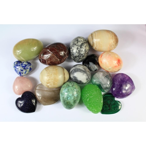 46 - A Collection of Polished Marble/Stone Eggs and Gemstone Hearts. The stone eggs including green, oran...