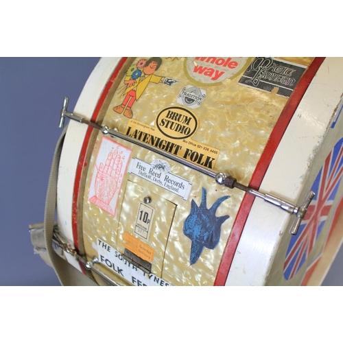7 - A Large Bass Drum. The drum approx 73 cms dia. and adorned with 'gig' memorabilia, including 'Edinbu...