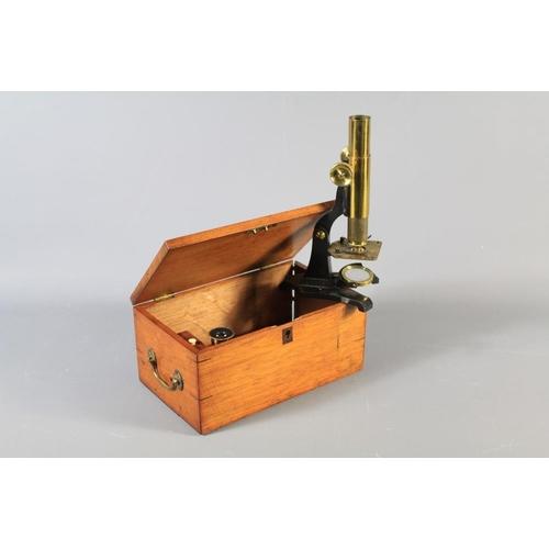 18 - A Victorian Moritz Pillischer London Monocular Microscope Brass Microscope. The microscope with bras...