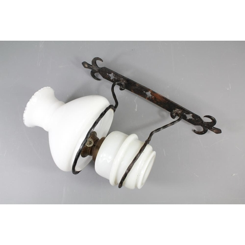 A Victorian Wall Mounted Oil Lamp The Lamp Mounted On A