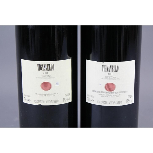 46 - Two Bottles of 2001 Antinori Tignanello Toscara Tuscan Red Wine....