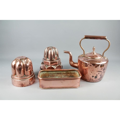 49 - Antique Copper. This lot includes two jelly moulds, fire-side kettle and a rectangular dish (perfect...