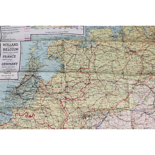 Map Of France Holland And Germany.A Wwii Silk Map Depicting Holland Belgium France And Germany