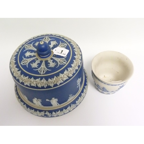 1 - 19th century Lear blue Jasperware covered cheese dome decorated with classical figures, 26cm diam.; ...