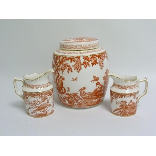 11 - Royal Crown Derby ''Red Aves'' pattern biscuit barrel, 22cm high, marked as second & two matching ju...