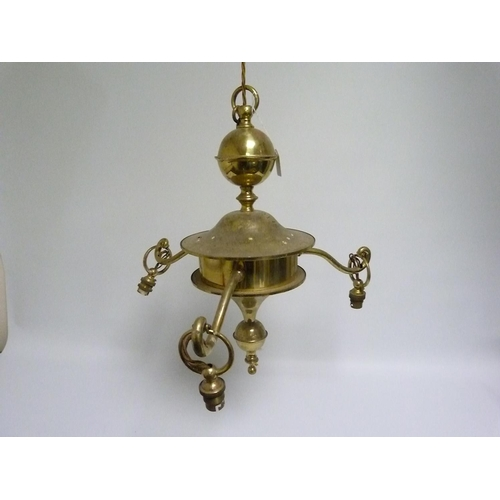 18 - Three branch brass electrolier, 50cm high. Electrical testing / rewiring required....
