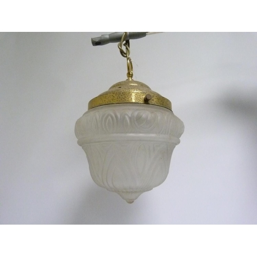 19 - Brass pendant ceiling light with moulded frosted glass shade, 38cm high. Electrical testing / rewiri...