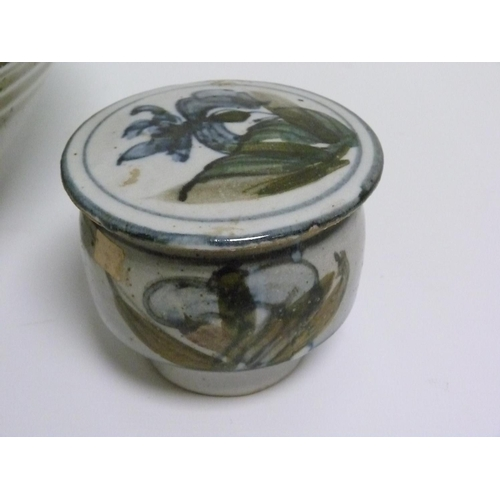 24 - Colin Kellam (B.1942) Devon studio pottery large circular bowl decorated with fuchsia, 29cm diam.; a...