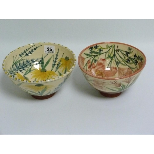 25 - Two studio pottery bowls with hand painted floral decoration, one with rudbeckia & lavender, 19cm di...