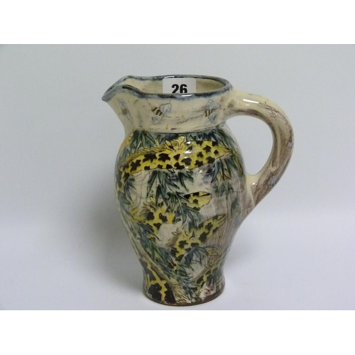 26 - Nick Chapman (B.1954) Devon studio pottery jug decorated with giraffes amongst foliage & bees, signe...