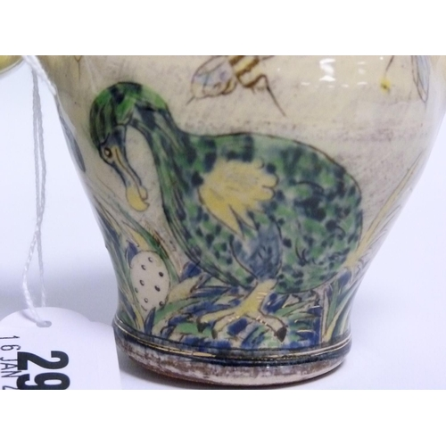 29 - Nick Chapman (B.1954) Devon studio pottery small twin handled baluster vase decorated with dodos & b...
