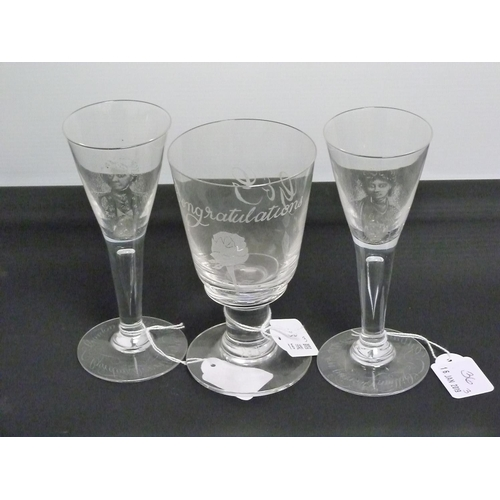 36 - Two 20th century stipple engraved drinking glasses, the funnel bowls depicting Lady Hamilton & Lord ...