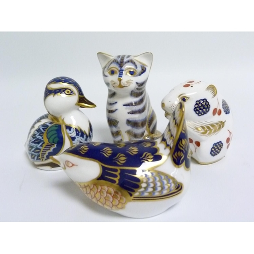 37 - Four small Royal Crown Derby paperweights in the form of a Duck, Field Mouse, Wren & seated Cat, the...
