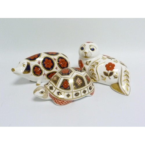 38 - Royal Crown Derby paperweight in the form of a Tortoise, 12cm long & two others in the form of a Sea...