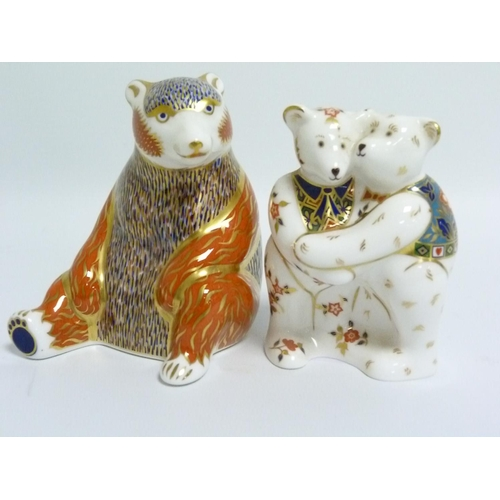 40 - Royal Crown Derby paperweight in the form of a seated Bear, 10cm high & another in the form of two b...