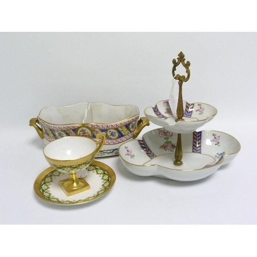47 - Limoges porcelain cabinet cup & saucer with floral & gilt decoration; a Limoges twin handled pot pou...