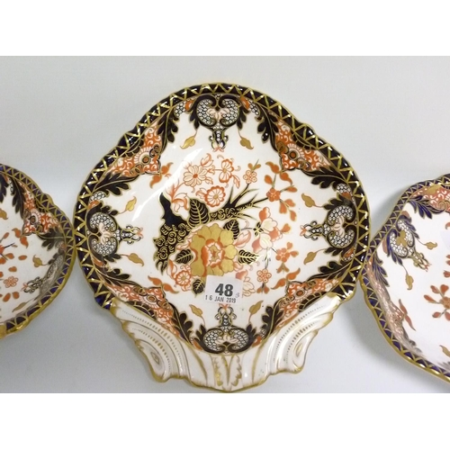 48 - Pair of Royal Crown Derby Imari dishes of shell form, each 25cm wide & another of octagonal form, 23...