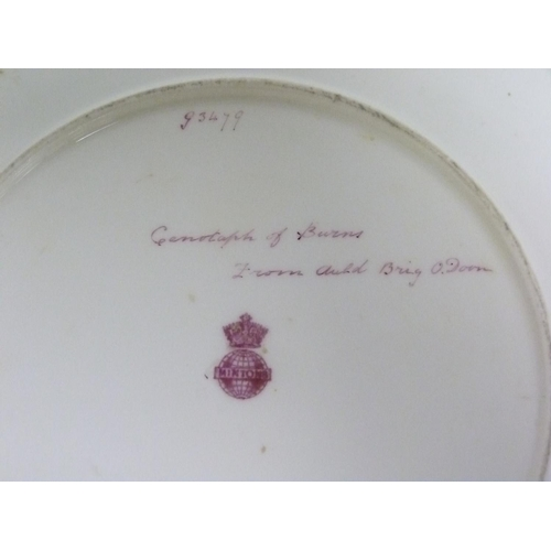 5 - Minton hand painted circular plate depicting the Cenotaph of Burns from Auld Brig o'Doon, no. G3479,...