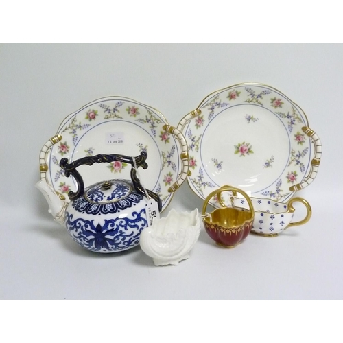 50 - Coalport blue & white transfer decorated teapot of kettle form, 14cm high; a small red & gil...