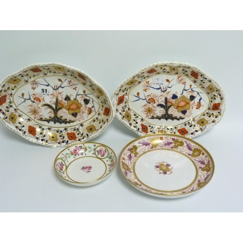 51 - Pair of Bloor Derby Imari dishes of lobed rhomboidal form, each 29cm wide; an early 19th century Eng...