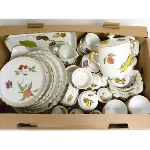 52 - Collection of Royal Worcester ''Evesham'' pattern oven to tableware, including flan dishes, ramekins...
