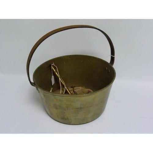 56 - Victorian circular brass jam pan, 31.5cm diam. with small Salter spring balance & hessian weighing b...