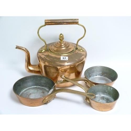 57 - Large copper kettle, 31cm high & a graduated set of three copper sauté pans, the largest 18cm diam. ...