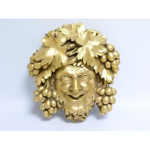 7 - Large giltwood carved ''Green Man'' wall plaque, 44cm x 41cm....