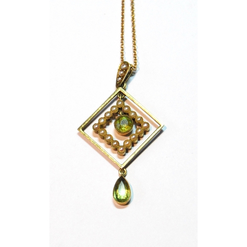 1 - Edwardian gold square pendant with two peridot and pearls, '15'....
