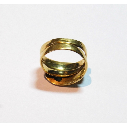 10 - Gold ring modelled as two entwined serpents, the heads with a diamond and an emerald, Birmingham 188...