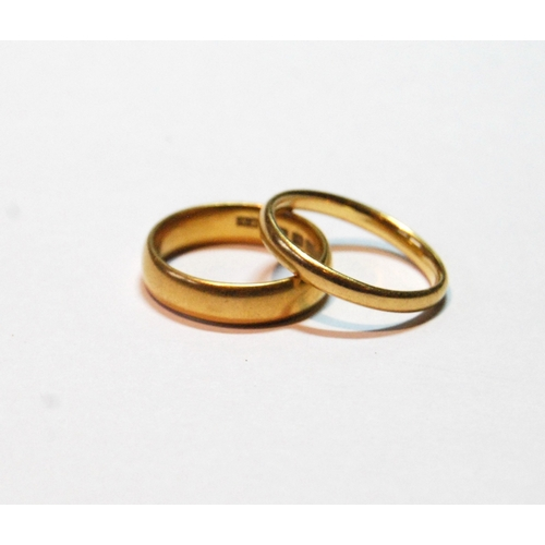 13 - 22ct gold band ring, inscribed, size L½, and another, probably 22ct, size N, 8.6g....