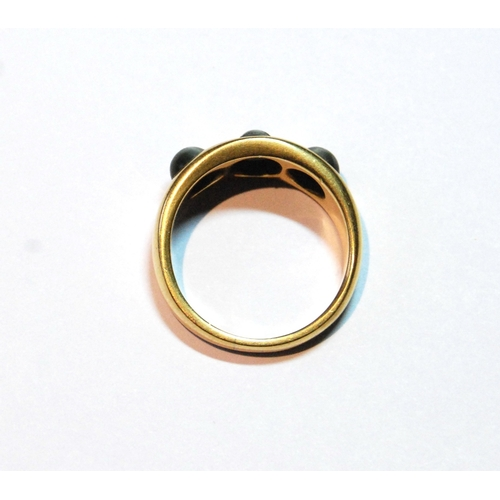 14 - 18ct gold ring with three quartz cat's eyes, Chester 1897, size Q½, 8.2g....