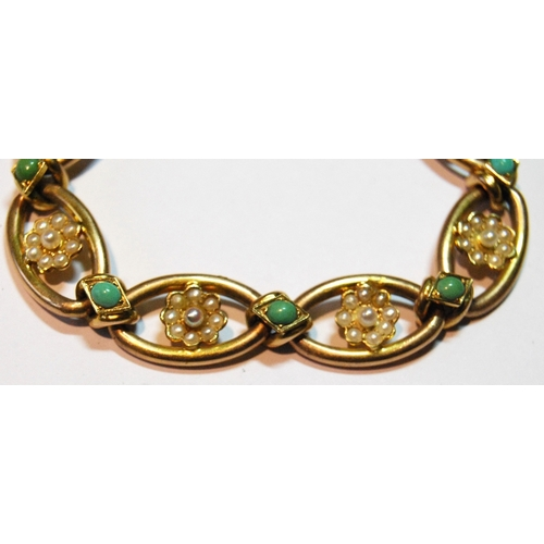 15 - Edwardian gold bracelet with turquoise collets and pearl clusters, '15ct', 20g....