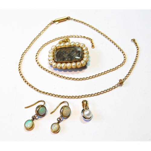 15A - Victorian gold mourning pendant, a necklet, a pair of opal drop earrings and a pendant.   (5)...