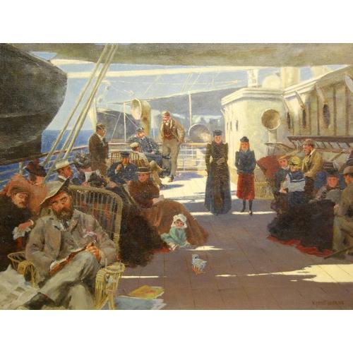 177 - WILLIAM AYERST INGRAM RBA (BRITISH, 1855 - 1913)Stroll along with ship's deckSigned lower right, oil...