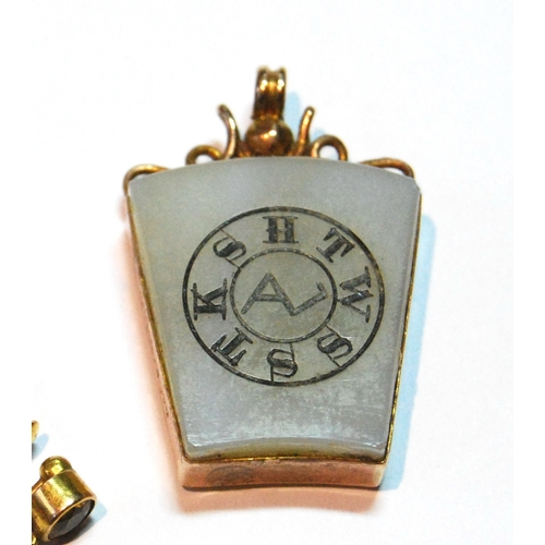 20 - Masonic tablet with 9ct gold mount, two pairs of earrings and two rings, one '18'....