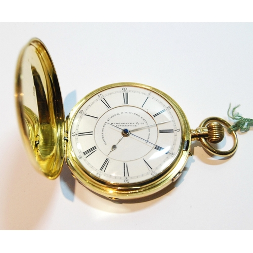 26 - Keyless stopwatch by Hargreaves, Liverpool, no. 49551, three quarter plate with overcoil spring, in ...