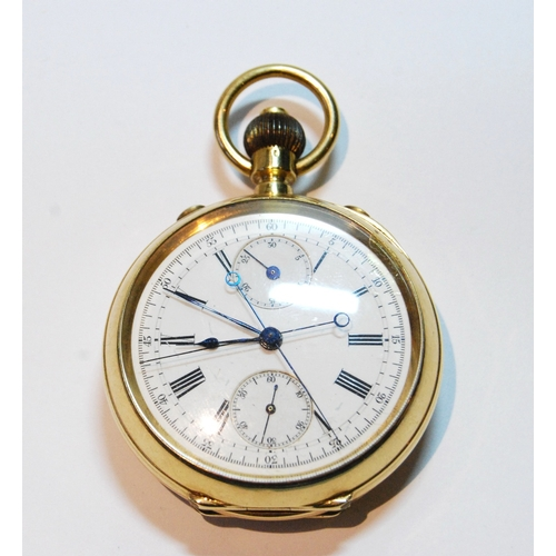 27 - Swiss keyless chronograph, possibly Audemars, split seconds, in 18ct gold open face case, 51mm....
