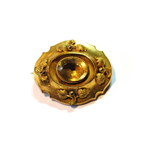 29 - Victorian gold brooch, similar, with applied sprays and locket back, 8g gross....