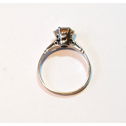 30 - Diamond solitaire ring with brilliant, approximately .1ct, in platinum, size O....