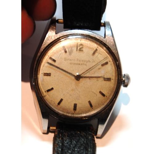 33 - Gent's Girard Perregaux watch, stainless steel, on strap....