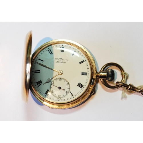 35A - Benson keyless lever watch, no. K3535, three quarter plate, in engine turned 9ct gold hunter case, i...