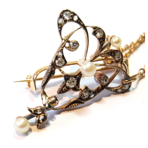 37 - Victorian gold brooch pendant with open sprays of rose and brilliant diamonds and three pearls, deta...
