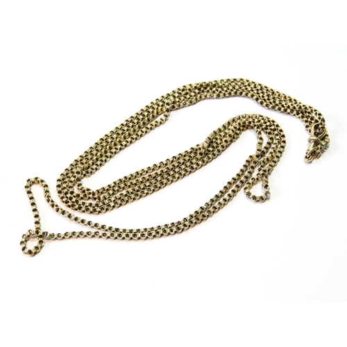 38 - Victorian gold long chain of ribbed circular links, '15ct', 36g....