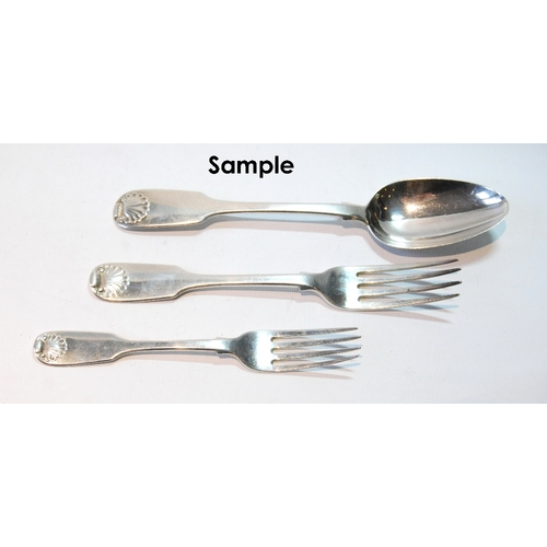 44 - Set of six silver table forks of fiddle and shell pattern with two matching table forks, two dessert...