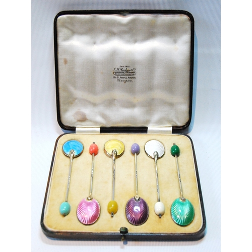 47 - Set of six silver and polychrome enamel coffee spoons, 1938, cased....