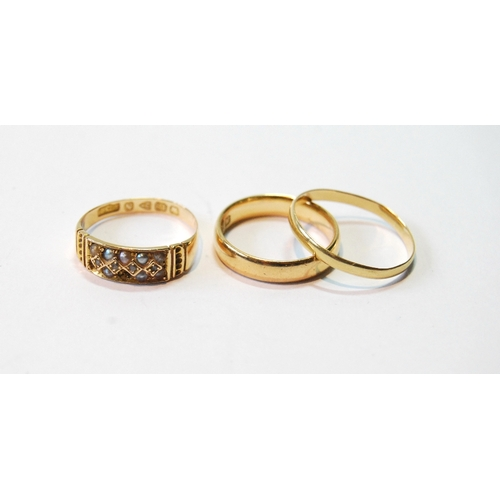 52 - Gold ring with pearls and two band rings, all 18ct, 7g....