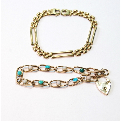 54 - Gold bracelet of curb pattern with opals and turquoise and another with three rectangular links, 9ct...