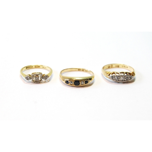 55 - Diamond and sapphire five-stone ring and two others with diamonds, 18ct gold, 8g.   (3)...